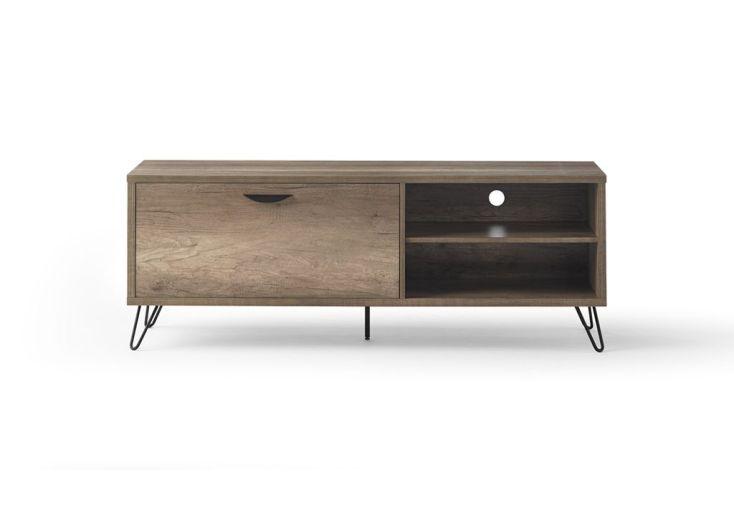 meuble télé en bois avec 1 porte et 2 rangements 150 cm