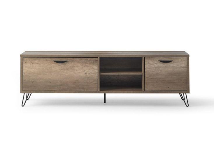 meuble TV en bois meuble de salon pour télé avec 2 portes 1 étagère