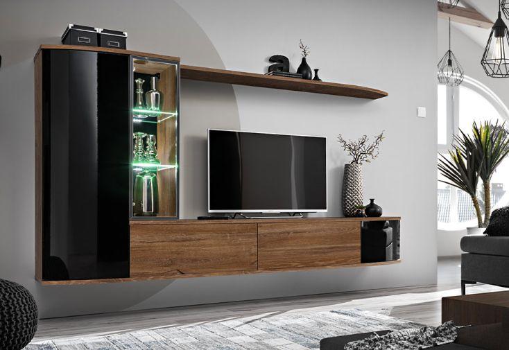 Meuble TV en bois avec étagères et vitrine