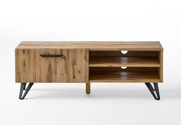 Meuble TV en bois 2 étagères et 1 porte 130 cm Acacia
