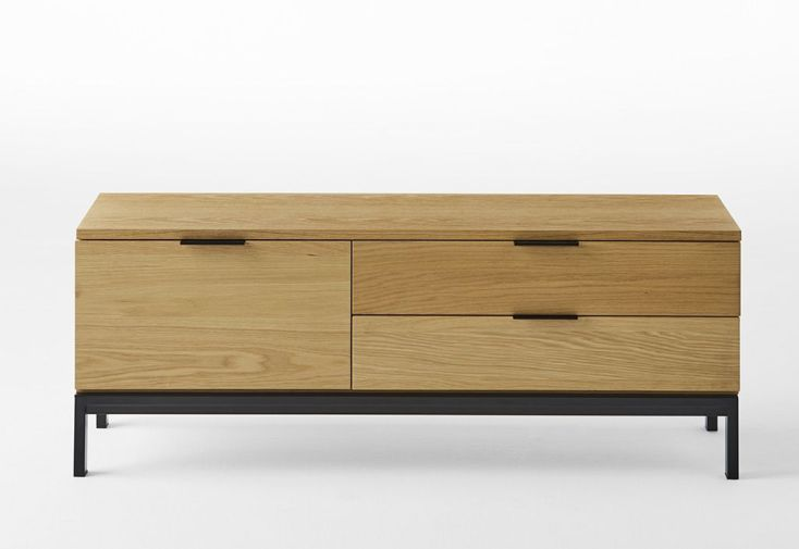 meuble tv en bois avec pieds en métal 120 cm