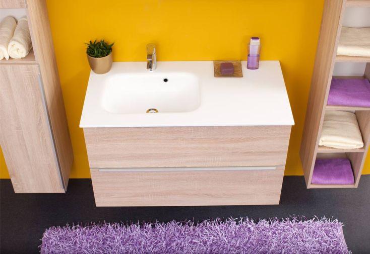 Meuble salle de bain plan de toilette en kerrock zena 100 for Modele salle de bain avec toilette
