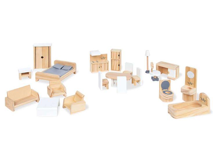set de 20 pièces en bois pour meubler maison de poupées
