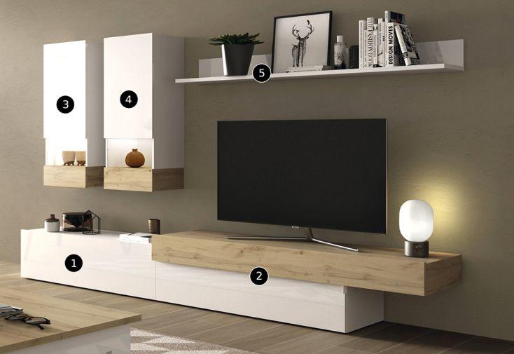 Meubles Salon En Bois 1 Meuble Tv 2 Vitrines Murales Et 1 Etagere Aura