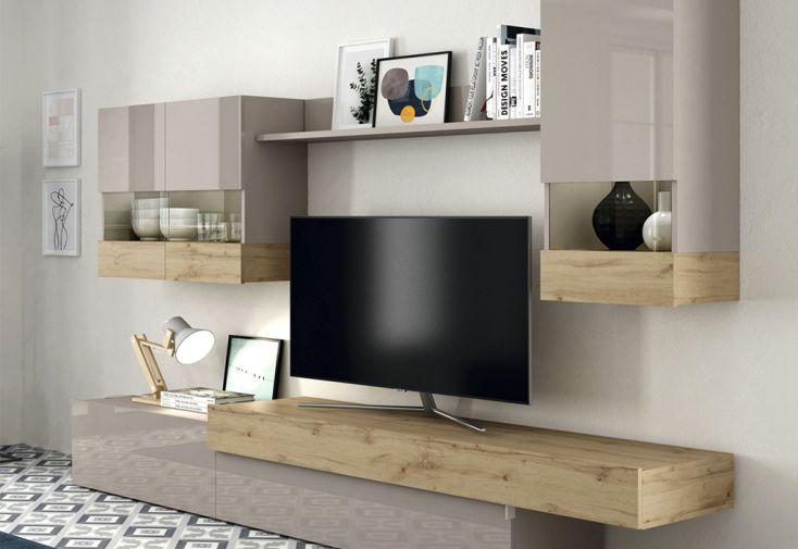 Meubles Salon en Bois : 1 Meuble TV, 2 Vitrines Murales,1 Étagère Aura