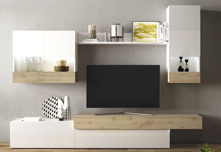 meubles salon en bois 1 meuble tv 2 vitrines murales 1 etagere aura