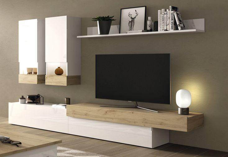 Meubles Salon en Bois : 1 Meuble TV, 2 Vitrines Murales et 1 Étagère Aura