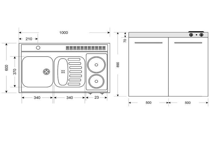 mini cuisine avec frigo et plaques electriques mk100 blanche