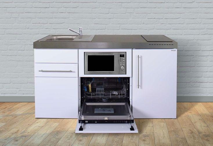 Kitchenette équipée frigo, lave-vaisselle, micro-ondes, plaque de cuisson 160 cm