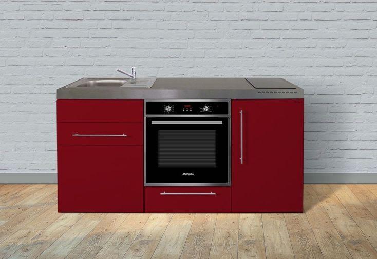 Kitchenette rouge pour studio 170 cm avec four, frigo et plaques