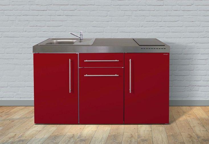 Kitchenette équipée rouge bordeaux pour studio 150 cm