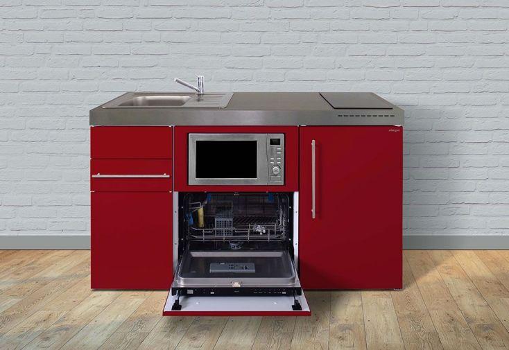Kitchenette pour studio en métal rouge toute équipée : lave-vaisselle, frigo, micro-ondes