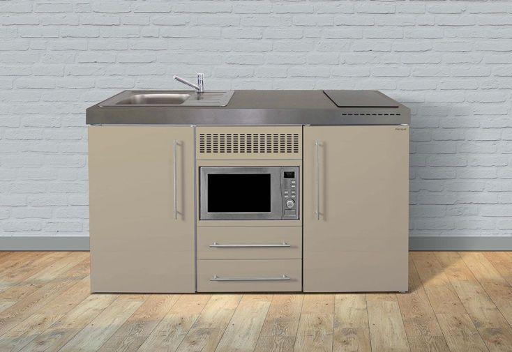 Kitchenette en métal avec micro-ondes et réfrigérateur coloris sable