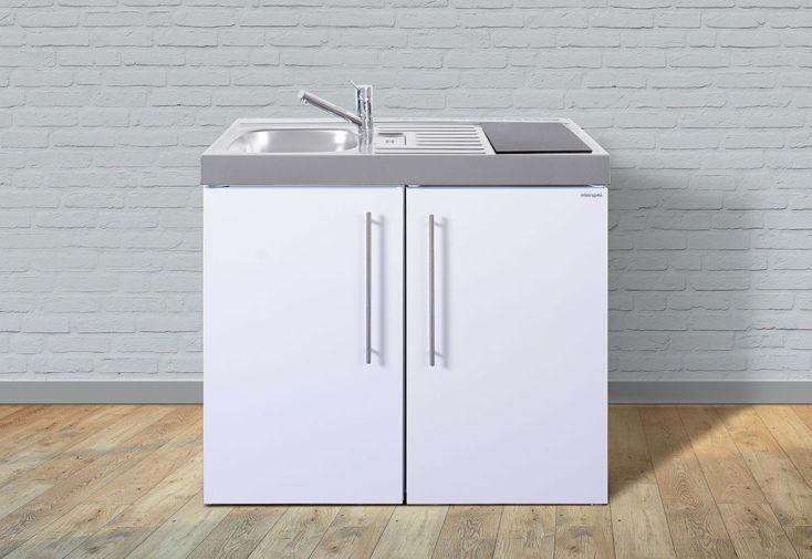kitchenette blanche avec évier frigo et double plaque à induction tactile