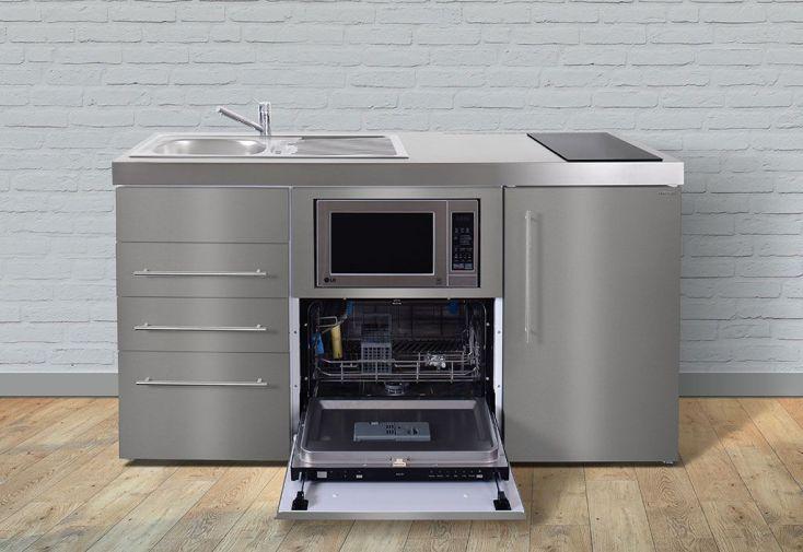 Mini cuisine en inox avec frigo l v m o induction mpgsmses3 160 stengel for Cuisine avec frigo noir