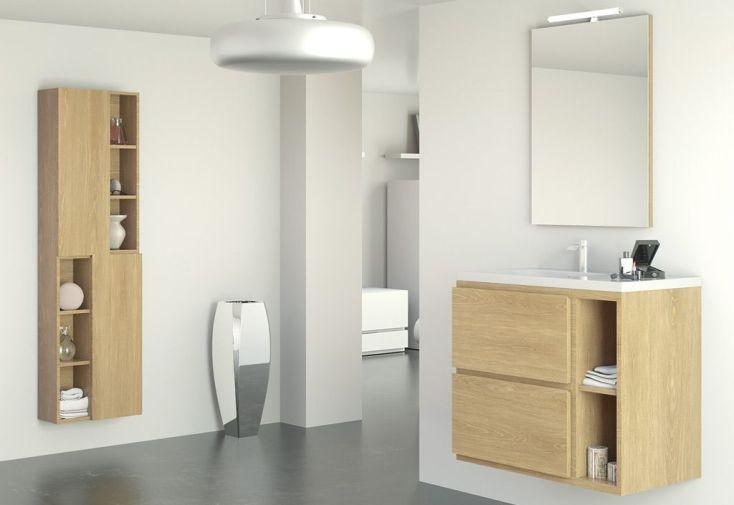 mobilier de salle de bain : meuble avec vasque, étagère, armoire, miroir, éclairage