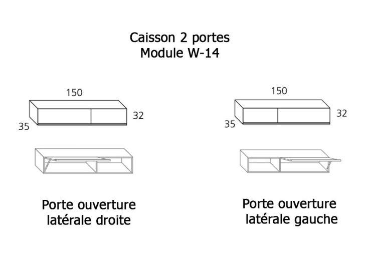 Caisson 1 Porte Latérale + 1 Porte relevante Meuble Haut W-14