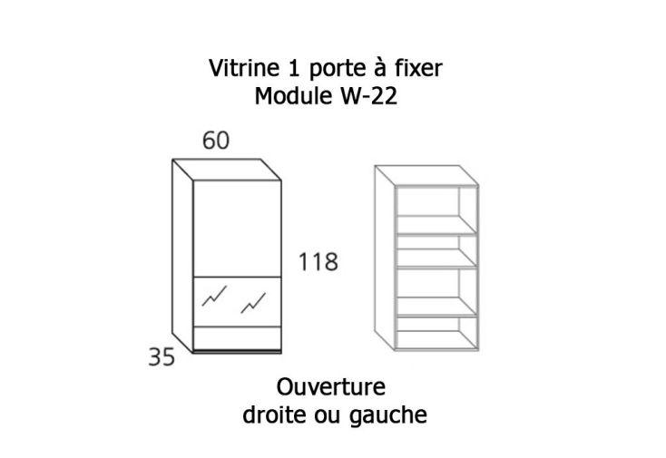 Vitrine 1 Porte Verre et Bois à Fixer 35x60x118cm (l,l,h) W-22