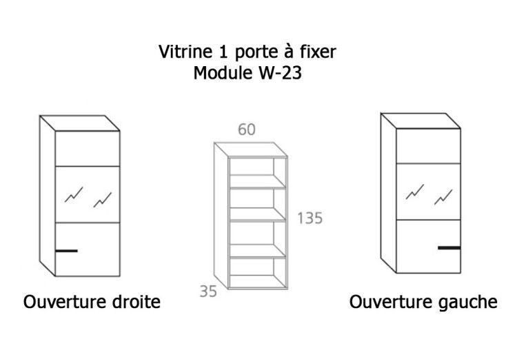 Vitrine 1 Porte Verre et Bois à Fixer 35x60x135cm (l,l,h) W-23