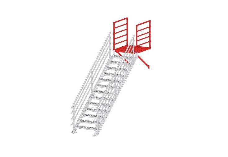 palier avec renfort et deux garde corps pour escalier altis levigne. Black Bedroom Furniture Sets. Home Design Ideas