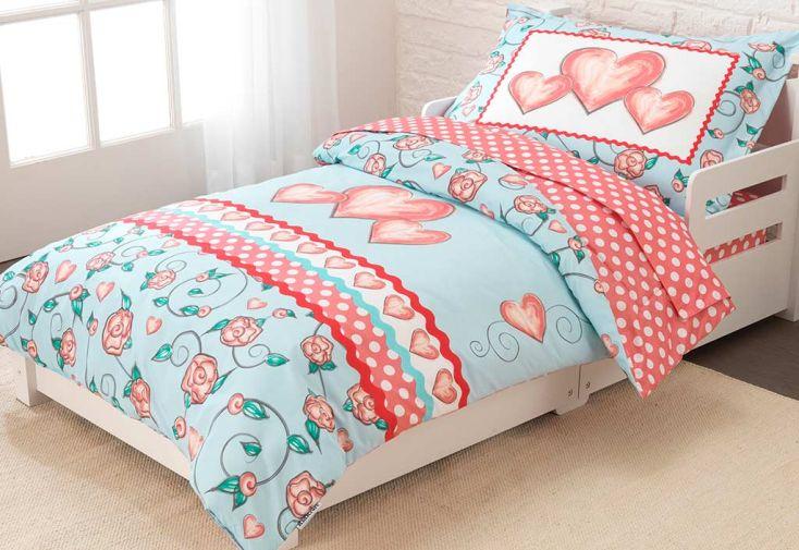 parure de lit pour enfant coeurs kidkraft. Black Bedroom Furniture Sets. Home Design Ideas