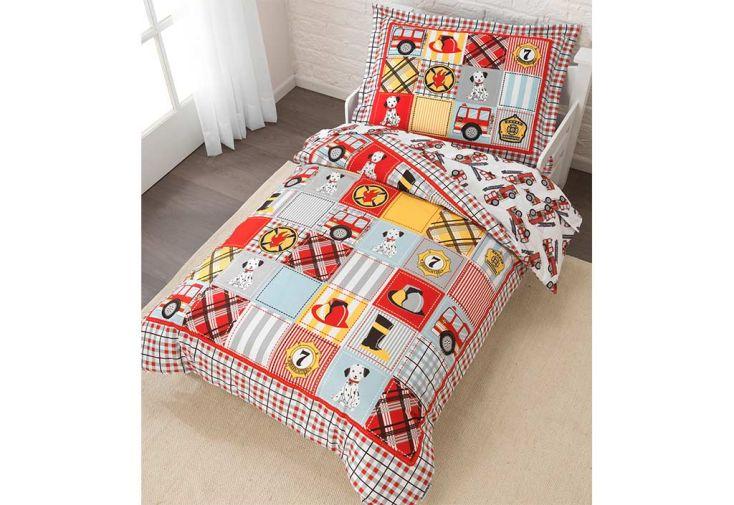 parure de lit pour enfant pompier kidkraft. Black Bedroom Furniture Sets. Home Design Ideas