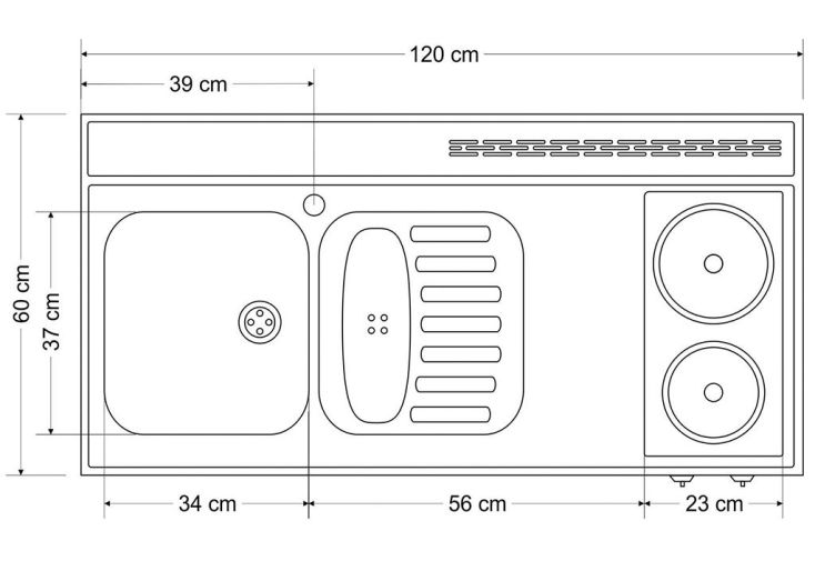 Plan De Travail En Inox 120x60 Cm Avec Evier Et Plaques