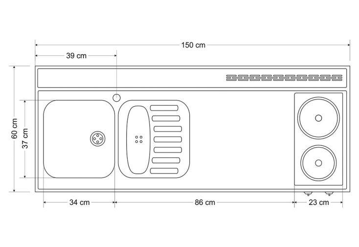 plan de travail en inox 150x60 cm avec vier et plaques lectriques stengel. Black Bedroom Furniture Sets. Home Design Ideas