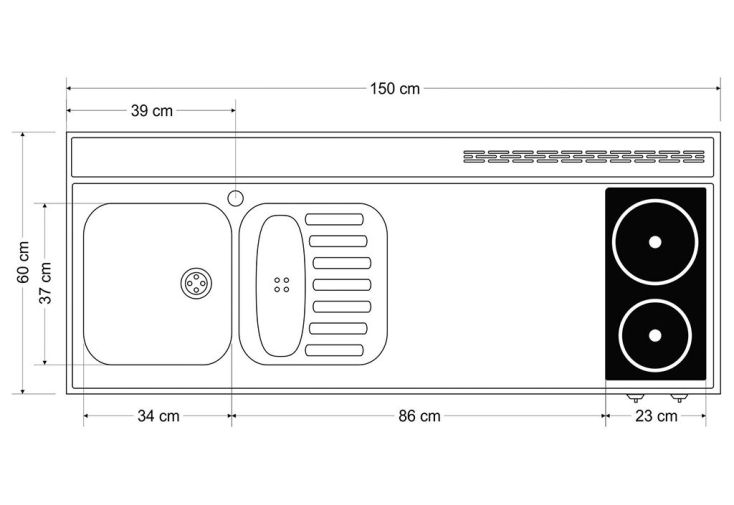 Plan de travail en inox 150x60 cm avec vier et plaques for Plan de travail 4 cm