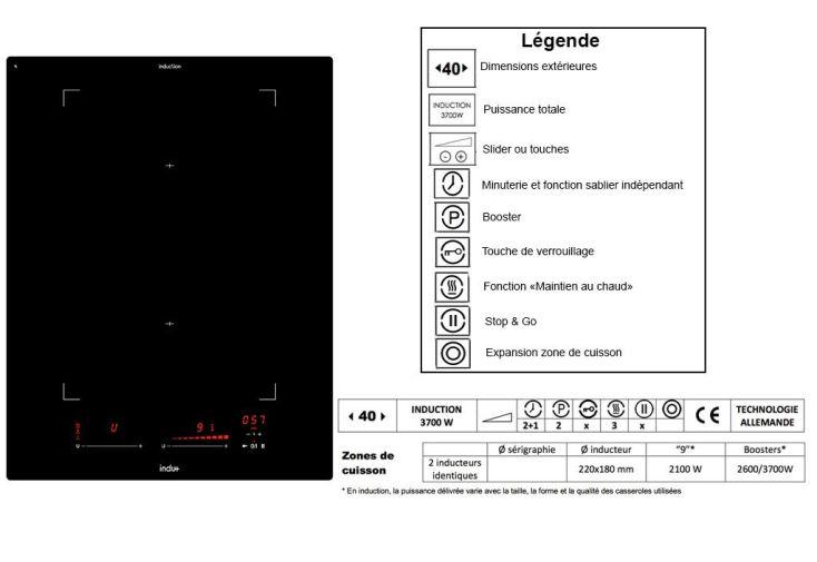 Plaque de cuisson Induction Multiflex 3700 W (40x52cm)