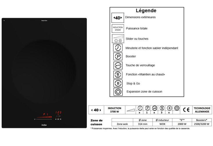 Plaque de cuisson Induction Wok 3700 W (40x52cm)