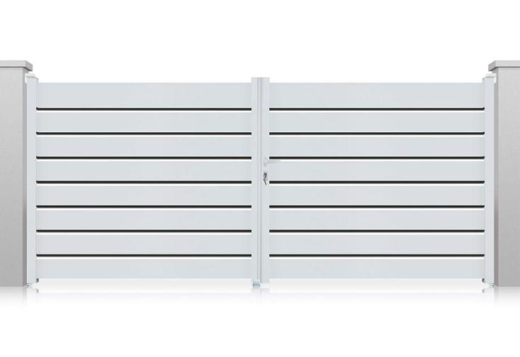 Portail aluminium battant orlando h 1 60 m blanc pls dimensions nfi for Portail aluminium battant 350