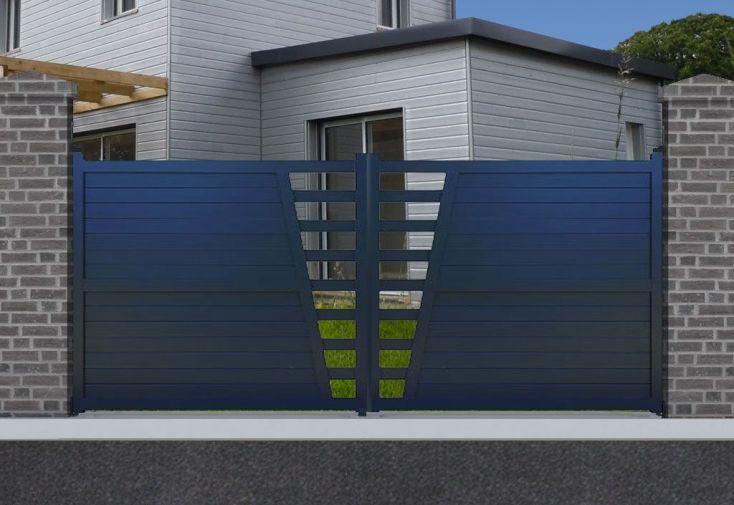portail en aluminium avec ouverture battante manuelle 170 cm