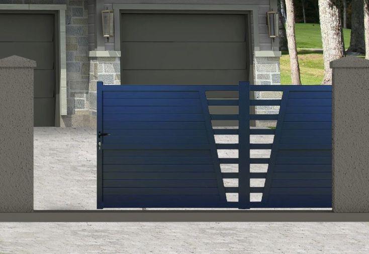 portail coulissant en aluminium peint en gris RAL 7016