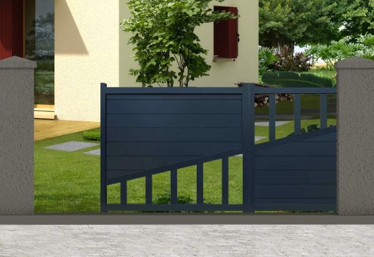 portail aluminium coulissant motoris houston h 1 60 m gris pls dim nfi. Black Bedroom Furniture Sets. Home Design Ideas