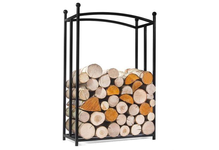 range-bûches en acier 60 x 25 x 90 cm pour ranger et stocker le bois à côté de la cheminée