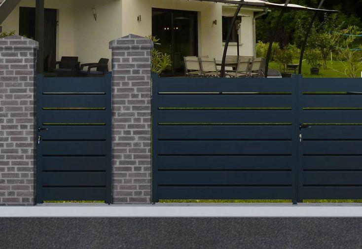 portail en aluminium battant portillon gris anthracite 100 x 160 cm