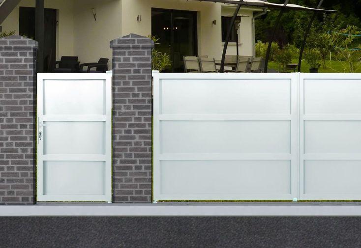 portail en aluminium blanc 1,00 x 1,80 m ouverture battante 1 vantail