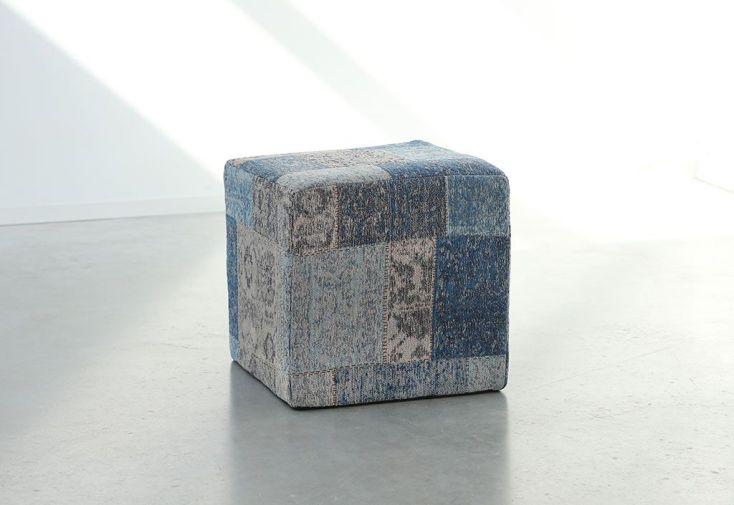 Pouf Déco Patchwork 45x45x45cm Bleu Ming