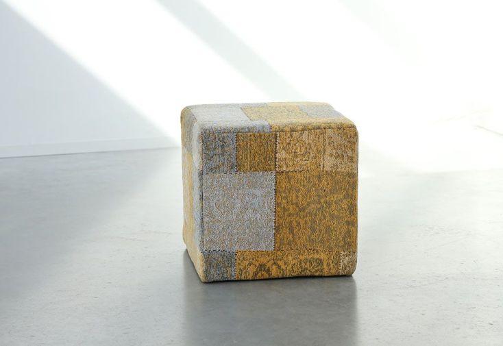 Pouf Déco Patchwork 45x45x45cm Moutarde