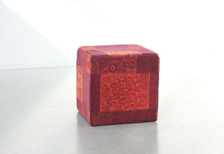 Pouf Déco Patchwork 45x45x45cm Tomate