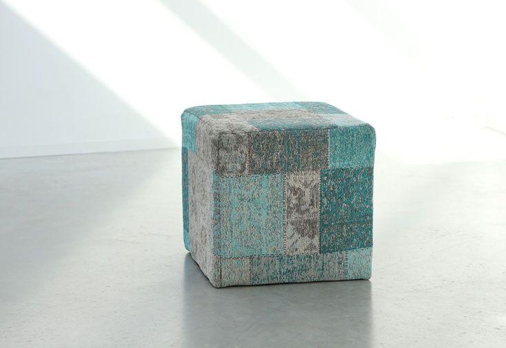 Pouf Déco Patchwork 45x45x45cm Turquoise