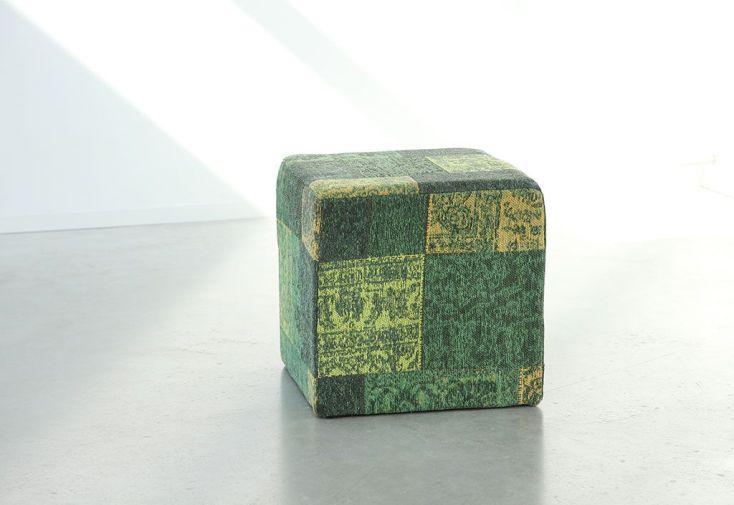 Pouf Déco Patchwork 45x45x45cm Vert