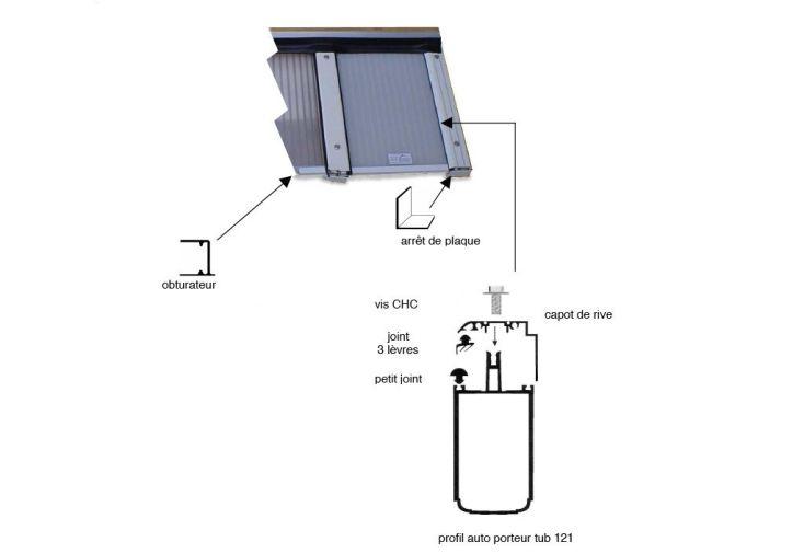 Profil Autoportant Rive Tub 121 Blanc sur Mesure pour Polycarbonate 32mm