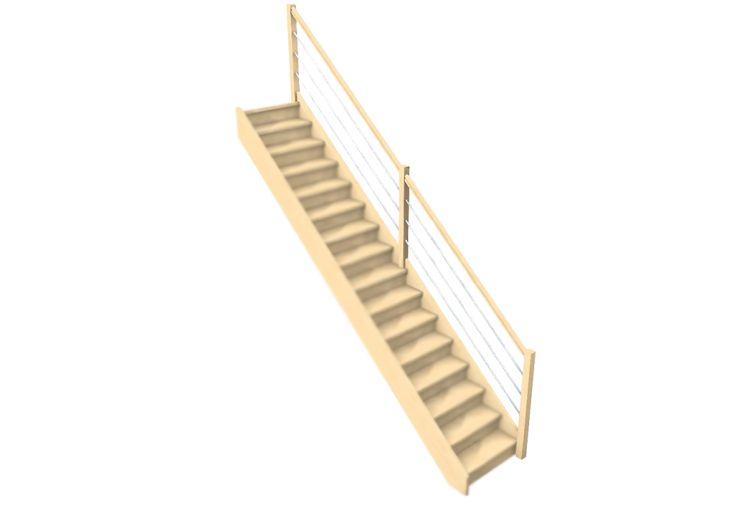 Rampe 3 lisses pour escalier en bois droit Oléa de Levigne