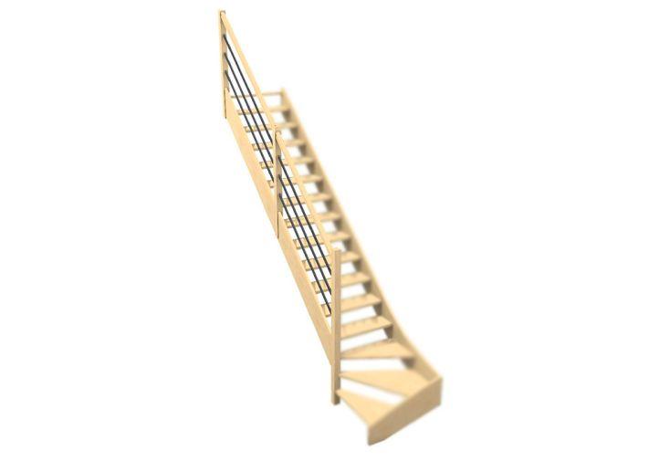 Rampe 3 lisses en bois et métal pour escalier quart tournant bas Oléa