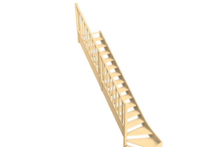 Rampe en bois avec balustres droits pour escalier quart tournant Oléa