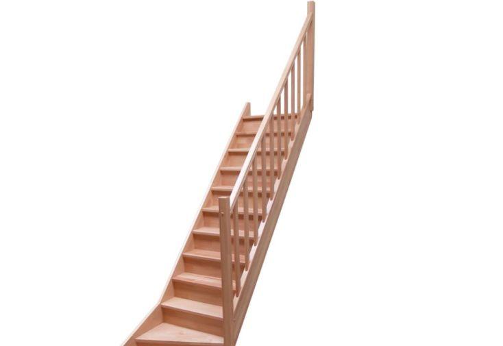 Rampe à Fuseaux en Hêtre pour Escalier Quart Tournant Bas