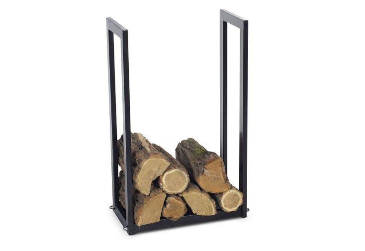 porte bûches en acier noir pour stocker le bois