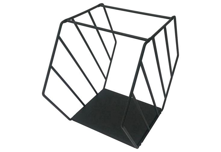 porte-bûches en acier noir Delta accessoire de cheminée